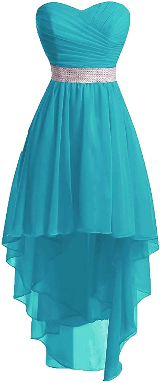 Uther Bridesmaid Dresses Women' Strapless High Low Chiffon Wedding Party Gowns