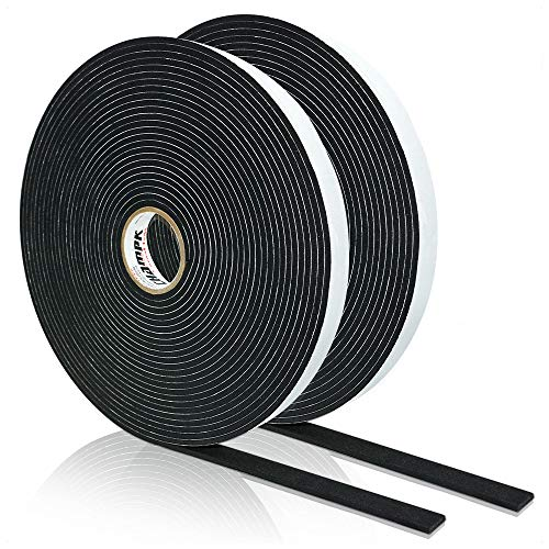 High Density Foam Tape, Seal Strip Self Adhesive Weather Stripping for Doors Seal and Window, Insulation Single Sided Foam Strips,2 Rolls(1/8
