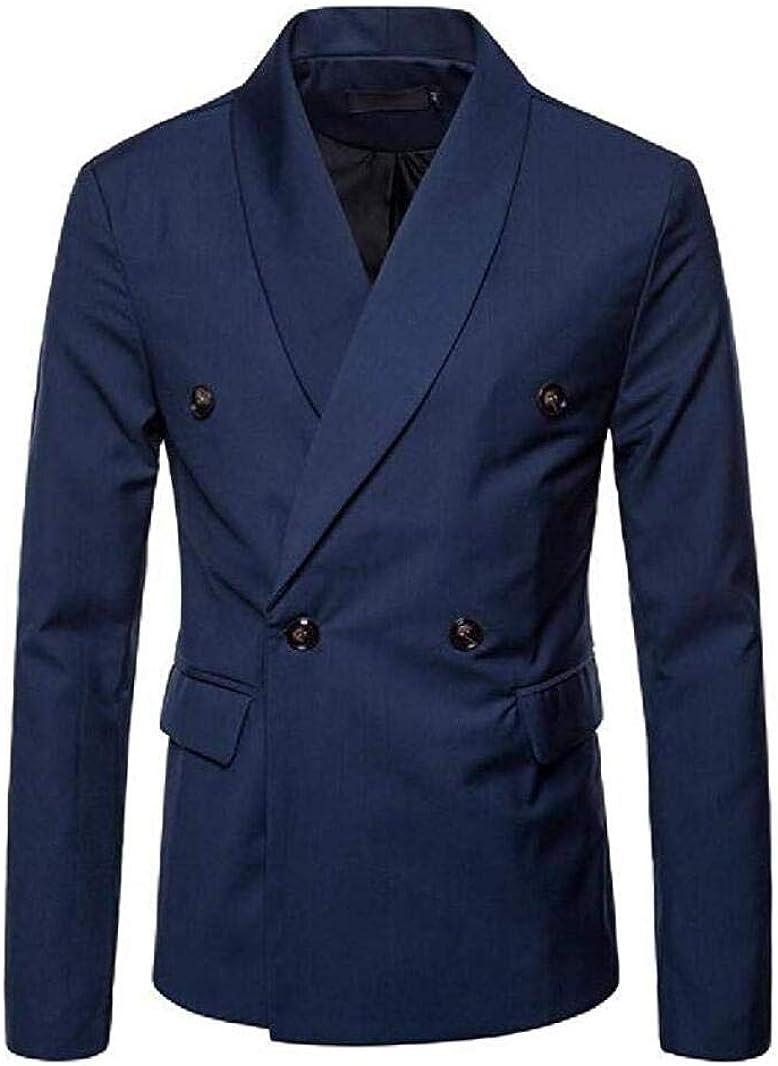 Fashion Men's Blue Double Breasted Blazer Shawl Lapel Tuxedo Jacket Waistcoat Blue 42/36