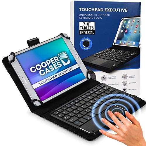 Cooper Touchpad Executive [Multi-Touch Mouse Keyboard] case for 7-8' Tablets | Universal Fit | iPadOS, Android, Windows | Bluetooth, Leather (Black)