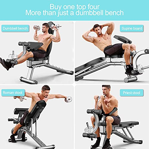 Weight Bench Adjustable - LINKLIFE Utility Exercise Workout Bench with Barbell Rack and Preacher Pad Leg Extension for Full Body Home Gym Strength Training Multi-Purpose Folding Flat Incline Decline Bench
