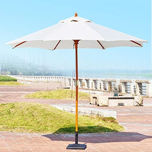 Sombrilla Parasol de Patio Blanco con Polo de Madera, Silla de Jardín al Aire Libre Paraguas con 8 Costillas, Paraguas de Jardín de Protección Solar - Poliéster Shade Canopy