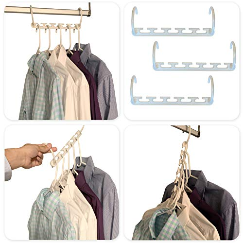 Juniper's Secret Closet Organizer Space Saving Clothes Hangers Plastic Dorm Room Essentials - 8 Pack Magic Hangers for Skirt, Pants, Shirts, Trousers - Free Eyeglass Pouch