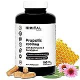 Propolis 2000 mg. 180 cápsulas veganas para 6 meses. Extractos de Propóleo con 10% Galangina, Equinácea con 4% Polifenoles y Eucalipto. Para el sistema inmune y las vías respiratorias.