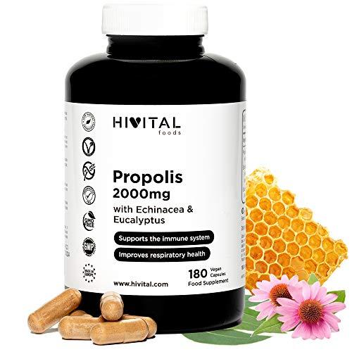 Propolis 2000 mg. 180 cápsulas veganas para 6 meses. Extractos de Propoleo con 10% Galangina, Equicanea con 4% Polifenoles y Eucalipto. Para el sistema inmune y las vías respiratorias.