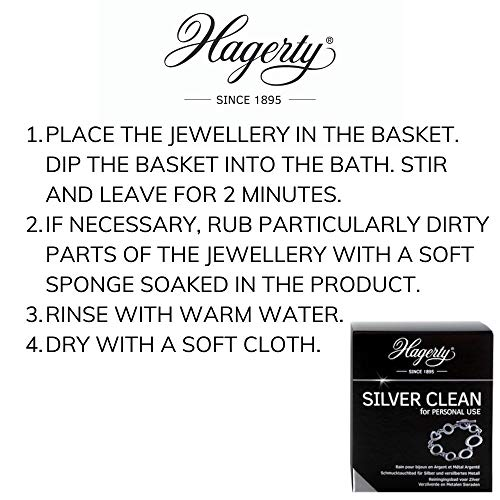 Hagerty Silver Clean Jewellery Immersion Bath for Silver and Silver-Plated Jewellery 170ml I Effective Jewellery Cleaner I Silver Jewellery Cleaning Bath for renewed Shine I incl. Basket