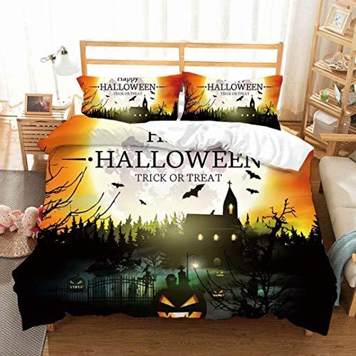 GGDW Halloween Ghost Anime Bedding Set 3D Cartoon Pumpkin Bed Set with Pillowcases Best Gifts for Kids Teens Adults Queen Size (No Comforter)