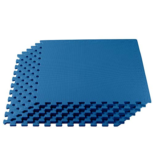 We Sell Mats 3/8 Inch Thick Multipurpose Exercise Floor Mat with EVA Foam, Interlocking Tiles, Anti-Fatigue for Home or Gym, 24 in x 24 in