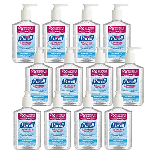 PURELL Advanced Hand Sanitizer, Refreshing Gel, 8 fl oz Hand Sanitizer Counter Top Pump Bottles...