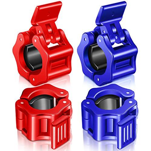 4 Piezas Abrazaderas de Pesas Clip de Cuello de Mancuerna Antideslizante de Liberación Rápida Placas de Bloqueo para Ejercicio Levantamiento de Pesas Entrenamiento Físico (Rojo, Azul, 25 mm)