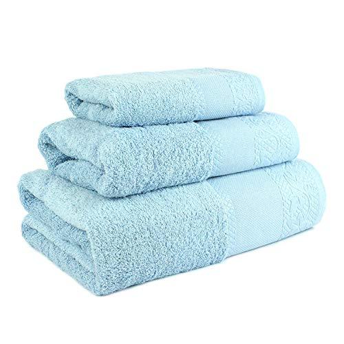 Confort Home M.T (Celeste) Juego de Toallas de baño 3 Piezas REGALITOSTV (1 Toalla de baño, 1 Toallas de Manos y 1 Toalla Cara) 100% algodón, Toallas Ligeras y absorbentes. (Celeste)