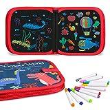 Miavogo Malbuch mit 12 Buntstifte für Kinder, Zeichenbrett abwischbar wiederverwendbar tragbar - 14 Seiten (Dinosaurier)