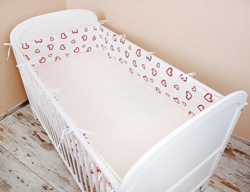 Paracolpi lettino nido protezione della testa paracolpi 420x 30cm, 360x 30cm, 180x 30cm letto paracolpi Baby protezione bordi dotazione cuore rosso