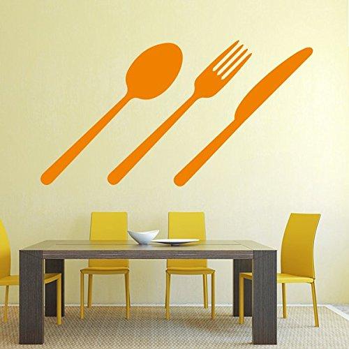 denoda® Besteck - Wandtattoo Weiss 50 x 90 cm (Wandsticker Wanddekoration Wohndeko Wohnzimmer Kinderzimmer Schlafzimmer Wand Aufkleber)