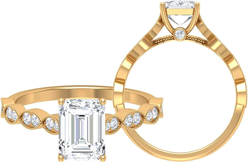 Vintage Wedding Ring, D-VSSI 2 CT 6X8 MM Octagon Shape Moissanite Ring, Solitaire Engagement Ring, Milgrain Sidestone Ring, Anniversary Ring, 14K Gold