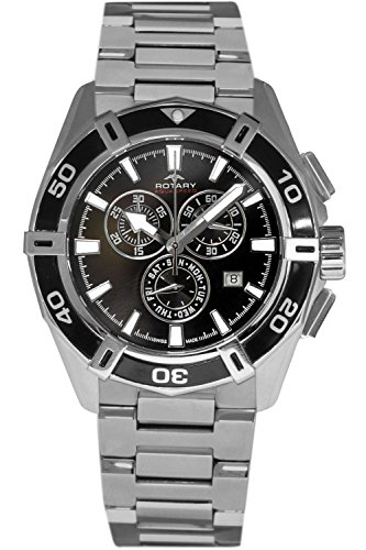 Rotary Men's Quartz Watch with Black Dial...