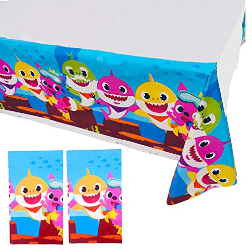 """2 Pack 86"""" x 52"""" Baby Shark Table Cloth Disposable Shark Plastic Table Cover for Baby Shower/Kids Birthday Party Supplies Decorations"""