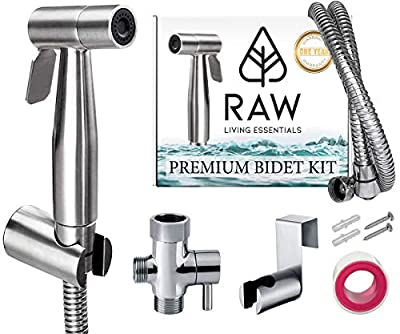 Premium Handheld Bidet Sprayer for Toilet and Cleaning Baby Cloth Diapers - Easy Self Install Spray Attachment by Raw Living Essentials -Great Personal Hygiene, Home and Bathroom Care- Stainless Steel from Raw Living Essentials