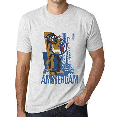 One in the City Hombre Camiseta Vintage T-Shirt Gráfico Amsterdam Lifestyle Blanco...