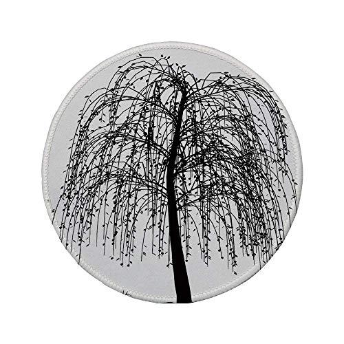 Rutschfreies Gummi-Rundmaus-Pad schwarz und weiß monochromes unfruchtbares Baumdesign blattlose Zweige Herbst-Naturbild schwarz weiß 7,87 'x 7,87' x 3 mm
