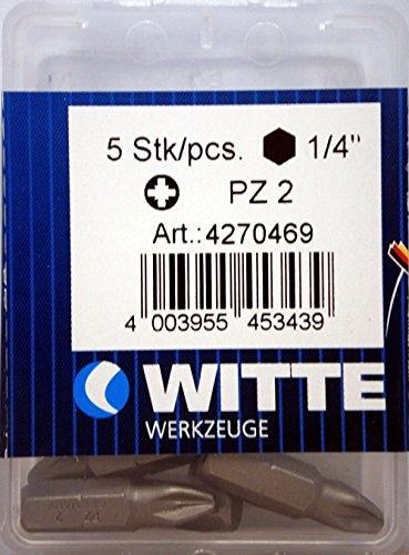 Witte 4270469 Caja 5 Puntas de destornillador Pz. 2x25mm, Único, Set de 5 Piezas