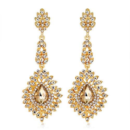LIUBAOBEI Pendientes De Mujer Aro,Pendientes Colgantes De Cristal De Lujo De Color Oro Blanco Rojo A La Moda, Pendientes Grandes De Cristal para Boda De Novia, Joyería para Mujer, Oro