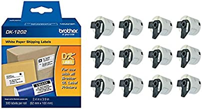 Brother Genuine DK-1202 Die-Cut Shipping Paper Labels, 300 Labels per Roll, 12 Rolls – for Use with QL Label Printers