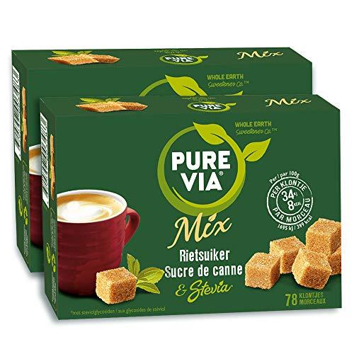 PURE VIA - Boîte 78 morceaux - Sucre de Canne et Stevia - Allégé en calories - Lot de 2