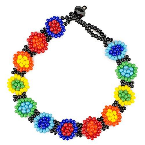 JOE COOL Pulsera de Cuentas arcoíris Flores Fabricado con Vidrio