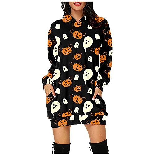 Shopler Sudadera de manga larga con estampado de Halloween para mujer, con capucha, casual, con bolsillo, Negro, XL