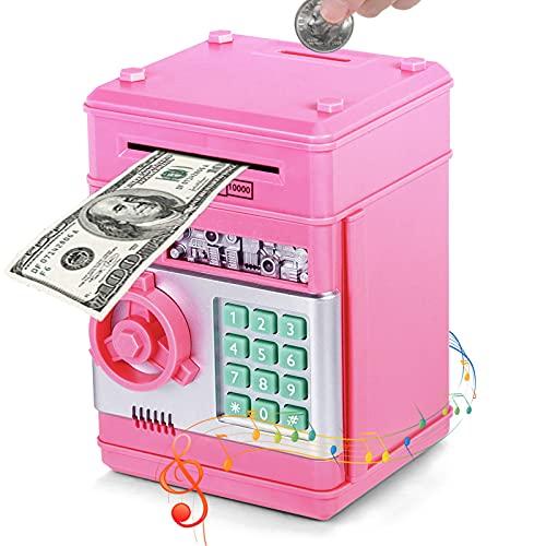 Vubkkty Electronic Piggy Bank, Mini ATM Password Bank Cash Coins Sparen Box für Kinder, Cartoon Safe Bank Box Perfekte Spielzeug Geschenke für Jungen Mädchen (Pink)