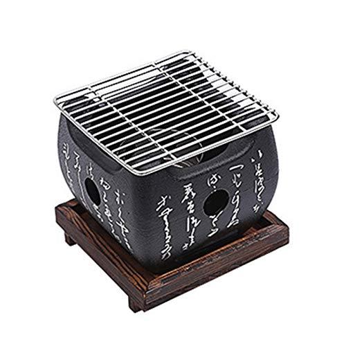 JJSCHMRC Parrilla de barbacoa de estilo japonés, mini estufa de barbacoa portátil de comida japonesa estufa de carbón con parrilla de malla de alambre y base Accesorios de barbacoa para el hogar