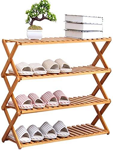 YUANKEXIANG Rack De Zapatos De Madera para Pasillo De Entrada De Puerta, 4 Niveles De Ahorro De Espacio para Almacenamiento Grande Estantería De Bambú
