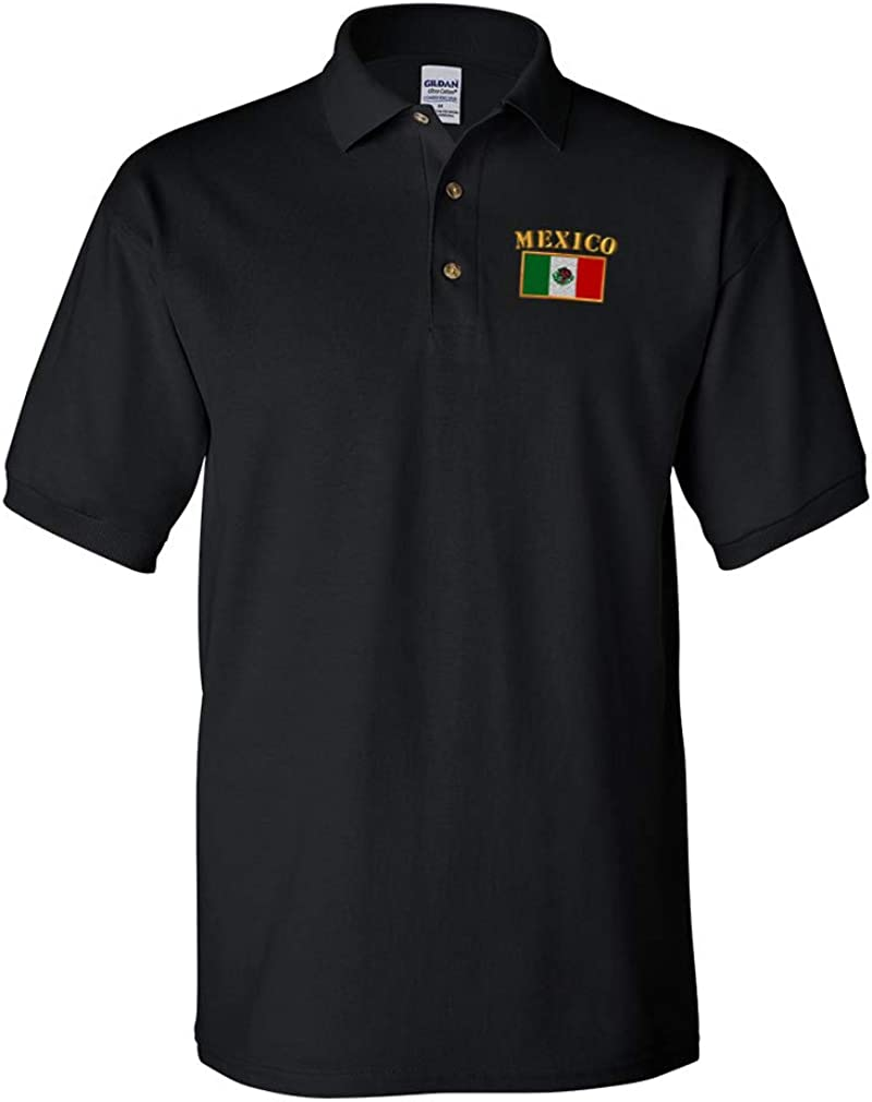 San Jose Mall Polo Shirts for Men Max 61% OFF Mexico Embroidery Sleeves Cotton Short Flag