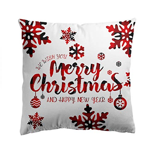 YINROM Merry Christmas Series Flax Soft Throw Pillow Case Decorative Cushion Cover Pillowcase Sofa Waist Throw Pad Cover Home Decoration Square 18' (A6)