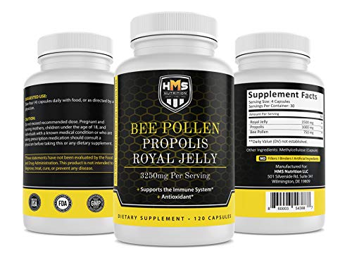 HMS Nutrition Premium Bee Pollen Daily Dietary Supplement - Includes...