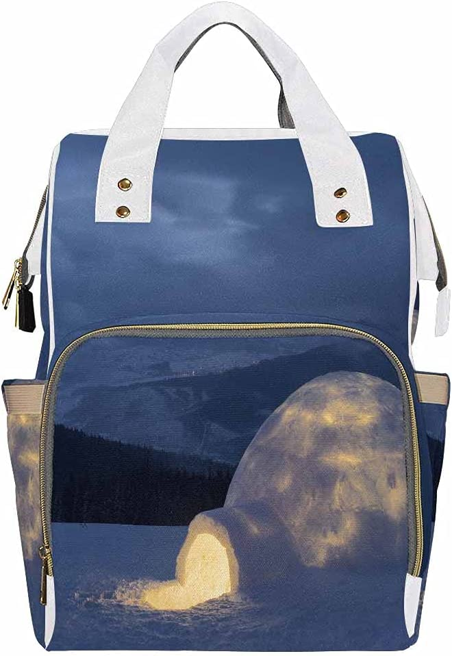 InterestPrint Large Baby Bag, Multi-Functional Travel Backpack for New Mother Snow Winter