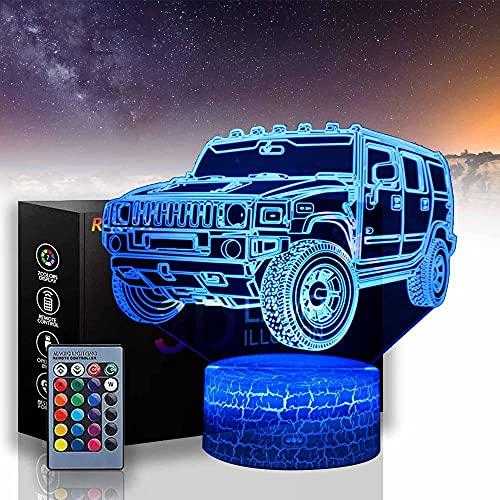 SUV A 3D Lámparas de ilusión óptica LED luz de noche para niños luces de noche para niñas con control remoto lámpara de cabecera, regalos de cumpleaños para niños y adultos