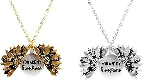 Belegend Open Locket Sunflower Pendant Necklace You Are My Sunshine Lettering Necklace Silver And Gold