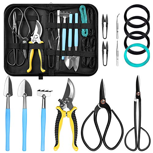 LadyRosian 15 Pack Bonsai Tools - Carbon Steel Shear Cutter Scissor Wire Plant Gardening - Plant Tree Tools with Nylon Case