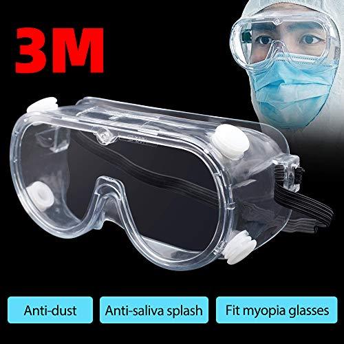 HINATAA Schutzbrille, 3M klare Sicherheitsbrille gegen Speichelspritzer, geeignet für Kurzsichtigkeit und verstellbares Kopfband, Schutzbrille für Brillen