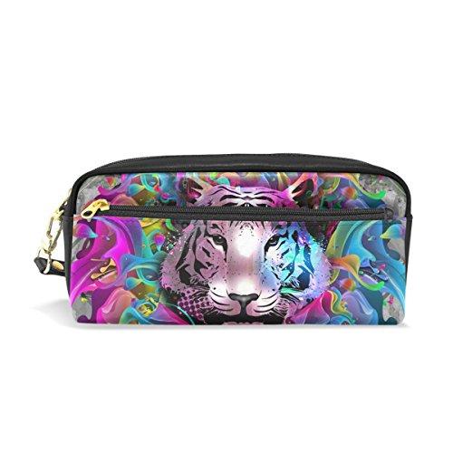 Trousse à crayons ISAOA grande capacité en cuir synthétique - Avec dessin de tigre coloré - Trousse avec fermeture éclair - Trousse de maquillage - Pour enfant - Unisexe