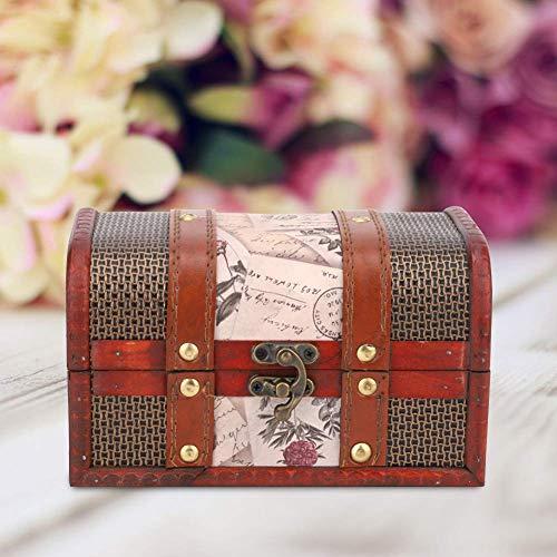 Caja de joyería retro con accesorios para habitación secreta, caja de almacenamiento de madera para tesoros, caja de tesoros para regalo decorativo de bautizo (sello de trompeta)