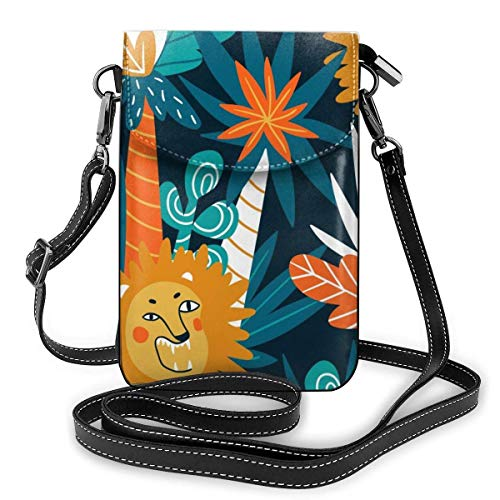 Lawenp Small Crossbody Cell Phone Purse for Women,Cute Jungle Lions Shoulder Bag Wallet with Credit Card Slots