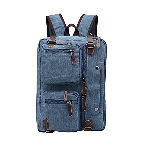 15 Inch Laptop Bag,Sheng TS Hybrid Multifunction Messenger Bag Convertible Laptop Rucksack BookBag Canvas for Men,Women,College Students (Vintage Blue Canvas, 15.6 inch)