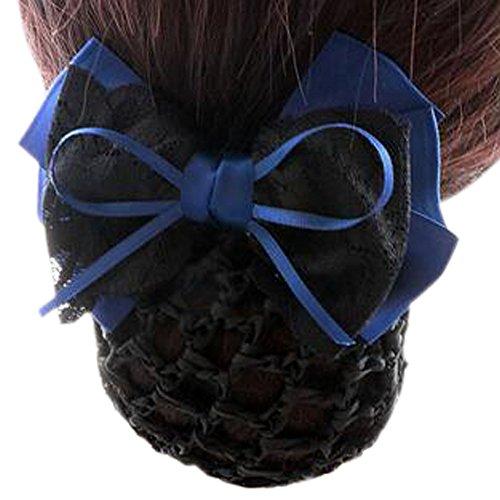 Maillot élastique à la mode pour dames Maillot de cheveux Hair Snood Bowtie Mesh, 1 Bleu et Noir