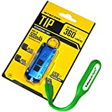 Nitecore TIP 360 lumen USB rechargeable keychain flashlight blue color body with EdisonBright brand USB powered reading light