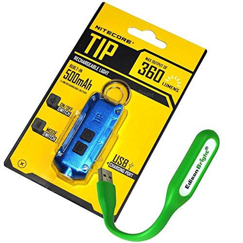 Nitecore TIP 360 lúmenes USB recargable llavero linterna azul cuerpo con la marca EdisonBright USB alimentado luz de lectura
