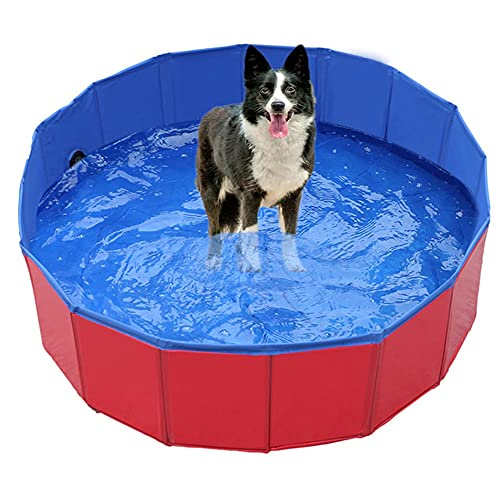 SUNONE Pet Paddling Pool, Portable Foldable Anti-slip and Wear-Resistant Paddling Pools for Kids Dogs Cats Bathtub Wash PVC Outdoor Playing Pool,Red,L