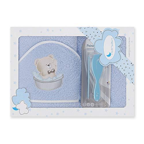 Interbaby P1178-01 - Capa de baño OSITO BAÑERA azul con Set de Peines, unisex